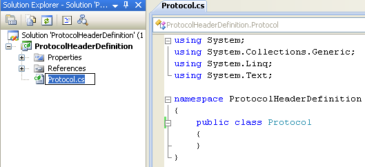 Creating Protocols Header Definition Class (C#) - renaming the source file automatically renaming the class name