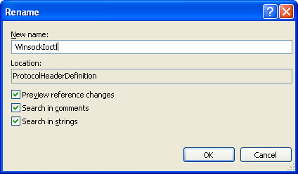 Creating Protocols Header Definition Class (C#) - the object rename VS 2008 IDE page