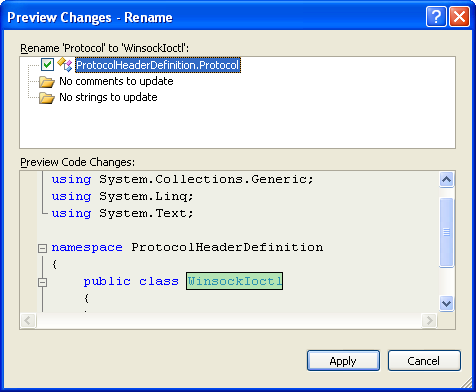 Creating Protocols Header Definition Class (C#) - previewing the renaming process before confirmation