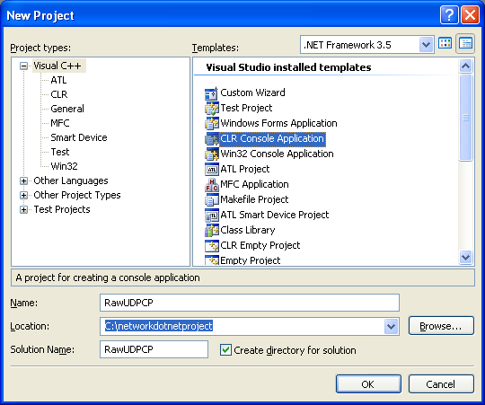 C++ Raw UDP Socket Program Example - creating a new CLR console application project in Visual Studio 2008 IDE