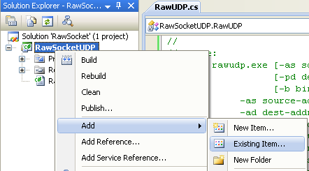C# Raw UDP Socket Program Example - adding a new existing item into existing project