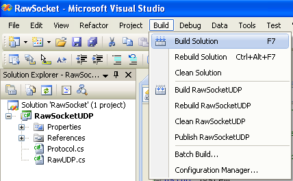 C# Raw UDP Socket Program Example - building the project