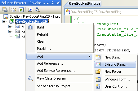 C# Raw Socket Ping Program Example - adding an existing item into the project
