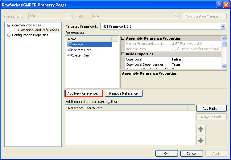 C++ Raw Socket IGMP Program Example - the project's property page, adding a new reference