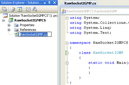 C# Raw Socket IGMP Program Example - renaming the source file automatically rename the class name