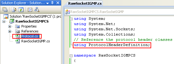 C# Raw Socket IGMP Program Example - the included source file can be seen in the Solution Explorer and the related header seems resolved