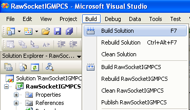 C# Raw Socket IGMP Program Example - building the project to check the validity of the custom made class and is accessible