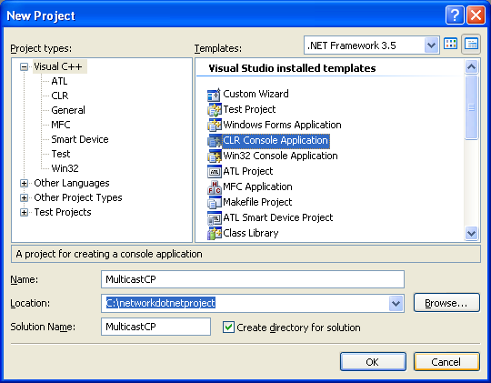 C++ Multicast Program Example - creating a new CLR console application project in VS 2008 IDE