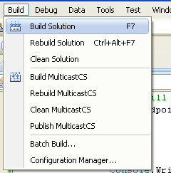 C# Multicast Program Example - building the project