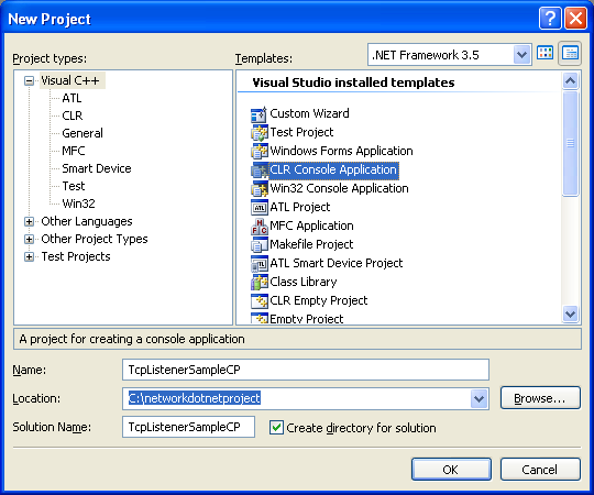 C++ TcpListener Program Example - creating a new CLR console application project in VS 2008