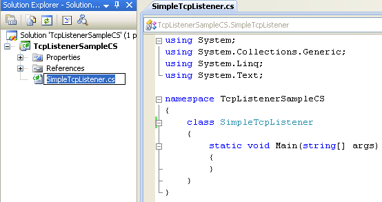 C# TcpListener Program Example - renaming the source file will automatically rename the class name