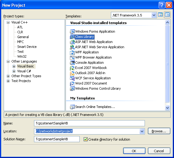 VB .NET TcpListener Program Example - creating a new class library project in Visual Studio 2008