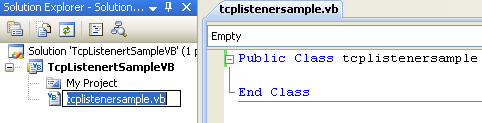VB .NET TcpListener Program Example - renaming the source file automatically renaming the class