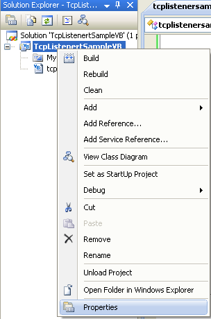 VB .NET TcpListener Program Example - invoking the projject's property page from the VS 2008 IDE