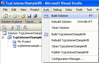 VB .NET TcpListener Program Example - building the project