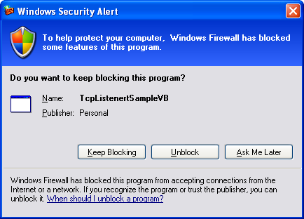 VB .NET TcpListener Program Example -- unblocking the Windows firewall protection