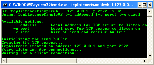 VB .NET TcpListener Program Example - a sample output, running the TCP listener, listening for connection