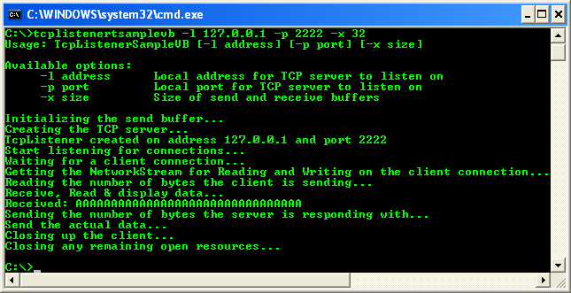 VB .NET TcpListener Program Example - the TCP listener screen when the communication with the TCP client was completed