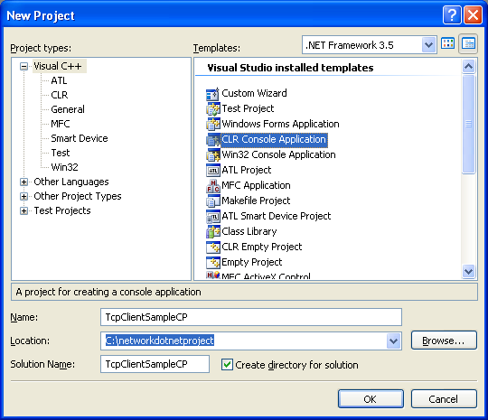 C++ TCP Client Program Example - creating a new CLR console application project in Visual Studio 2008 IDE