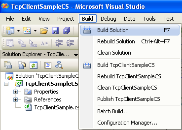 C# TCP Client Program Example - building the project