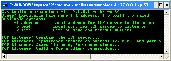 C# TCP Client Program Example - running the TCP listener to test the TCP client. TCP listener is waiting client connections