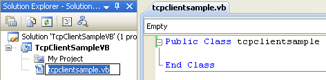 VB .NET TCP Client Program Example - renaming the class to reflect the application to be developed