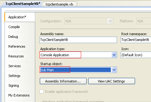 VB .NET TCP Client Program Example - changing the Application type: to Console Application and the Startup object: to Main() subroutine