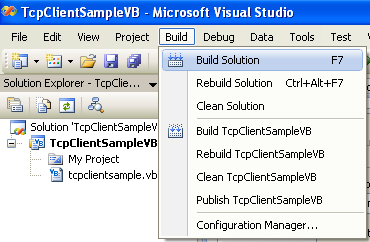 VB .NET TCP Client Program Example - building the project