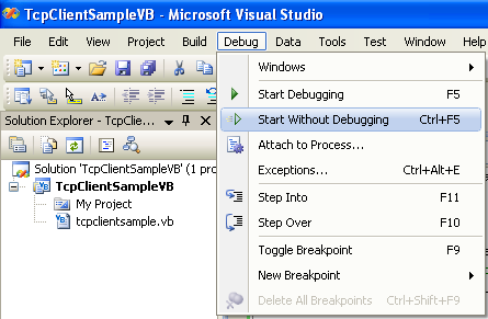VB .NET TCP Client Program Example - running the project