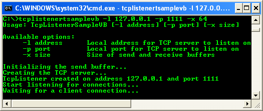 VB .NET TCP Client Program Example - a sample output when run from the command prompt, waiting the client connection