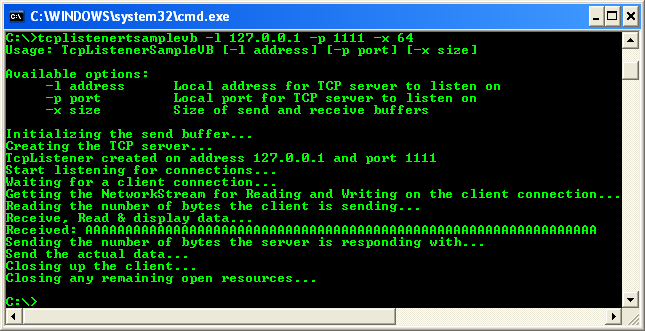 VB .NET TCP Client Program Example - the TCP listener screen when the communication with the client was completed