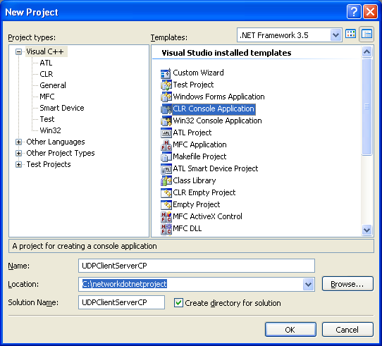 C++ UDP Client and Server Program Example - creating a new CLR console application project in Visual Studio IDE