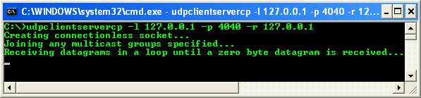 C++ UDP Client and Server Program Example - the output sample when we run it as receiver from the command prompt