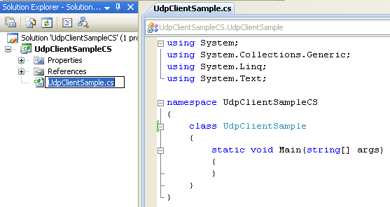 C# UDP Client and Server Program Example - renaming the source file
