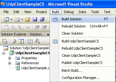 C# UDP Client and Server Program Example - building the project using the VS 2008 Build Solution menu