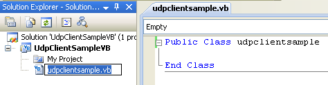 VB .NET UDP Client and Server Program Example - renaming the source file will automatically rename the class