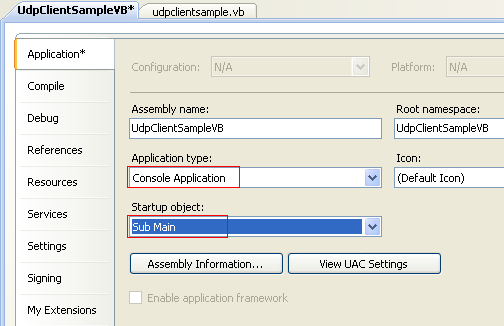 VB .NET UDP Client and Server Program Example - changing the Application type: to Console Application and the Startup object: to Main() subroutine to test the program