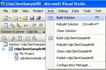 VB .NET UDP Client and Server Program Example - building the project