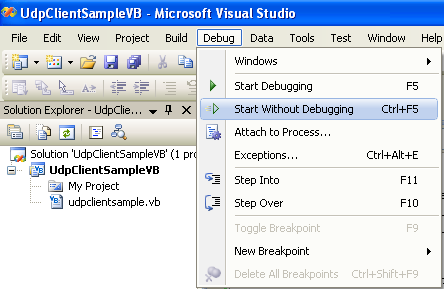 VB .NET UDP Client and Server Program Example - running the project