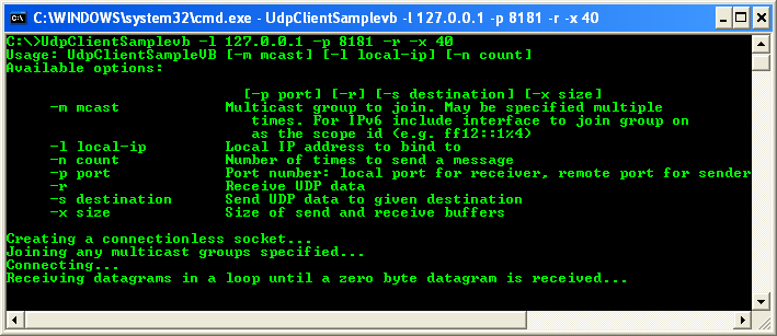 VB .NET UDP Client and Server Program Example - running the UDP program as receiver to test the sender