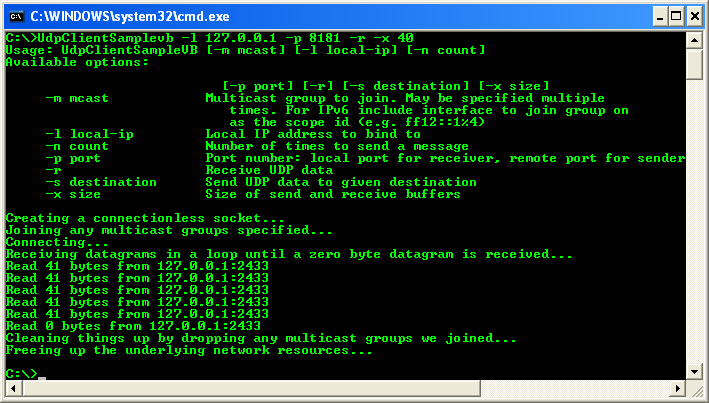 VB .NET UDP Client and Server Program Example - the UDP receiver program screen when the communication was completed
