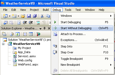 Running an ASP project in visual studio without debugging
