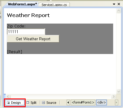 webform in the design mode seen in the VS 3008