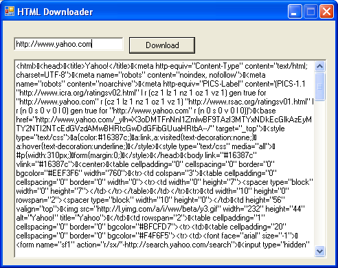 Windows form based HTML downloader program example using Visual Basic .NET