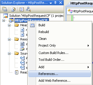 The POST operation shown in the C++ Http post request