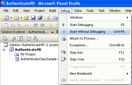 The VB  NET authentication project and program example, the