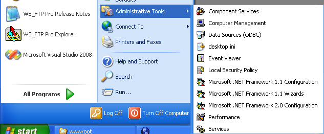 Install, configure, test and use IIS 5.x on Windows XP Pro SP2 machine: checking the Internet Information Services short cut in the Administrative Tools