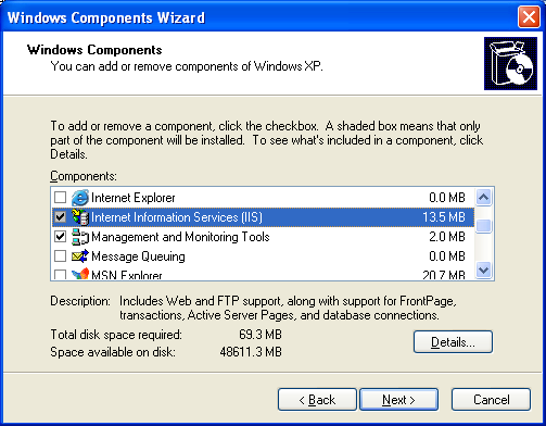 Install, configure, test and use IIS 5.x on Windows XP Pro SP2 machine: the Windows Components Wizard welcome page - selecting the Internet Information Services (IIS) components