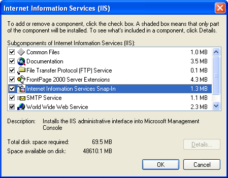 Install, configure, test and use IIS 5.x on Windows XP Pro SP2 machine: selecting theInternet Information Services sub-components