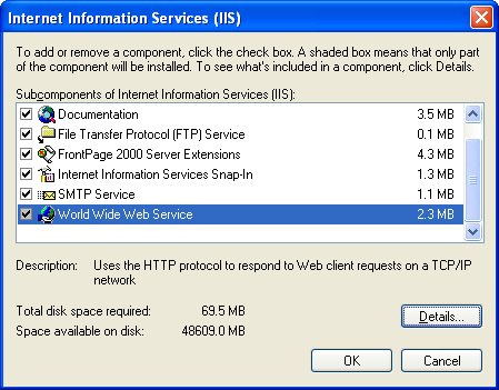 Install, configure, test and use IIS 5.x on Windows XP Pro SP2 machine: selecting other IIS sub components